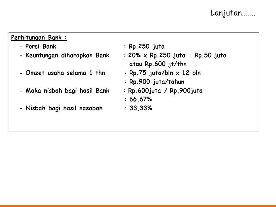 Perhitungan Bank : - Porsi Bank : Rp.250 juta - Keuntungan diharapkan Bank : 20% x Rp.250 juta = Rp.50 juta atau Rp.600 jt/thn - Omzet usaha selama 1