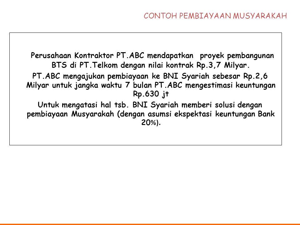 Perusahaan Kontraktor PT.ABC mendapatkan proyek pembangunan BTS di PT.Telkom dengan nilai kontrak Rp.3,7 Milyar. PT.ABC mengajukan pembiayaan ke BNI S