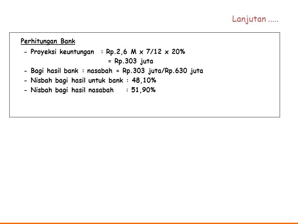 Perhitungan Bank - Proyeksi keuntungan : Rp.2,6 M x 7/12 x 20% = Rp.303 juta - Bagi hasil bank : nasabah = Rp.303 juta/Rp.630 juta - Nisbah bagi hasil