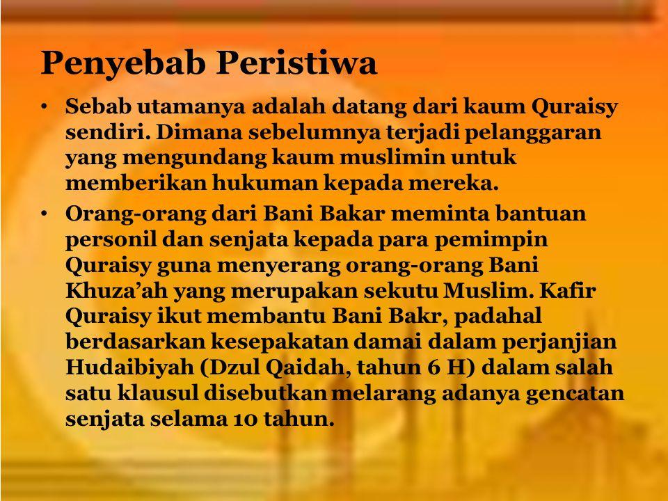 Penyebab Peristiwa Sebab utamanya adalah datang dari kaum Quraisy sendiri. Dimana sebelumnya terjadi pelanggaran yang mengundang kaum muslimin untuk m