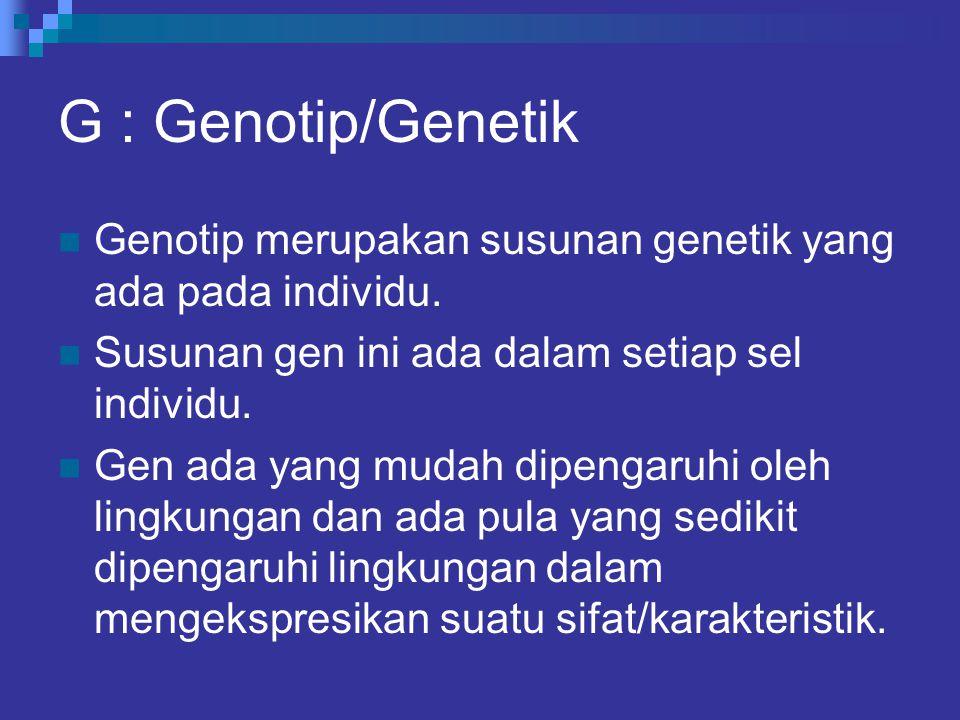 G : Genotip/Genetik Genotip merupakan susunan genetik yang ada pada individu. Susunan gen ini ada dalam setiap sel individu. Gen ada yang mudah dipeng