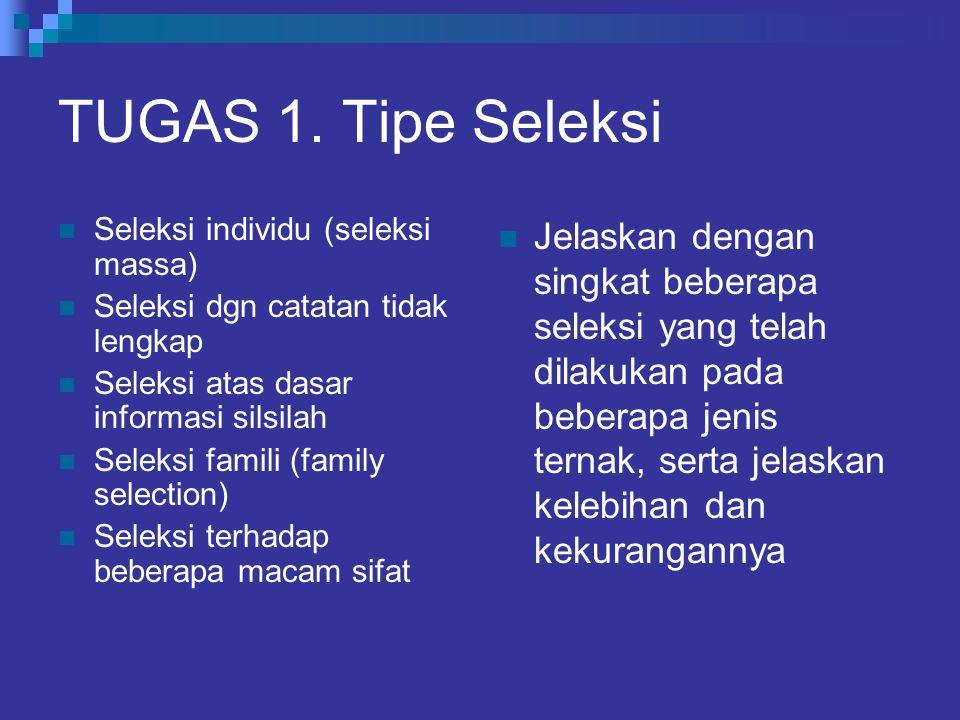 TUGAS 1. Tipe Seleksi Seleksi individu (seleksi massa) Seleksi dgn catatan tidak lengkap Seleksi atas dasar informasi silsilah Seleksi famili (family
