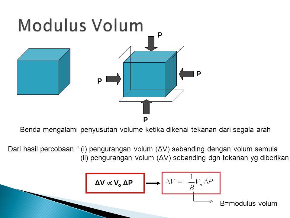 P P P P Benda mengalami penyusutan volume ketika dikenai tekanan dari segala arah Dari hasil percobaan (i) pengurangan volum (ΔV) sebanding dengan volum semula (ii) pengurangan volum (ΔV) sebanding dgn tekanan yg diberikan ΔV ∝ V o ΔP B=modulus volum