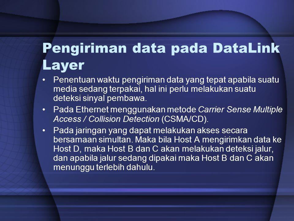 Pengiriman data pada DataLink Layer Penentuan waktu pengiriman data yang tepat apabila suatu media sedang terpakai, hal ini perlu melakukan suatu dete