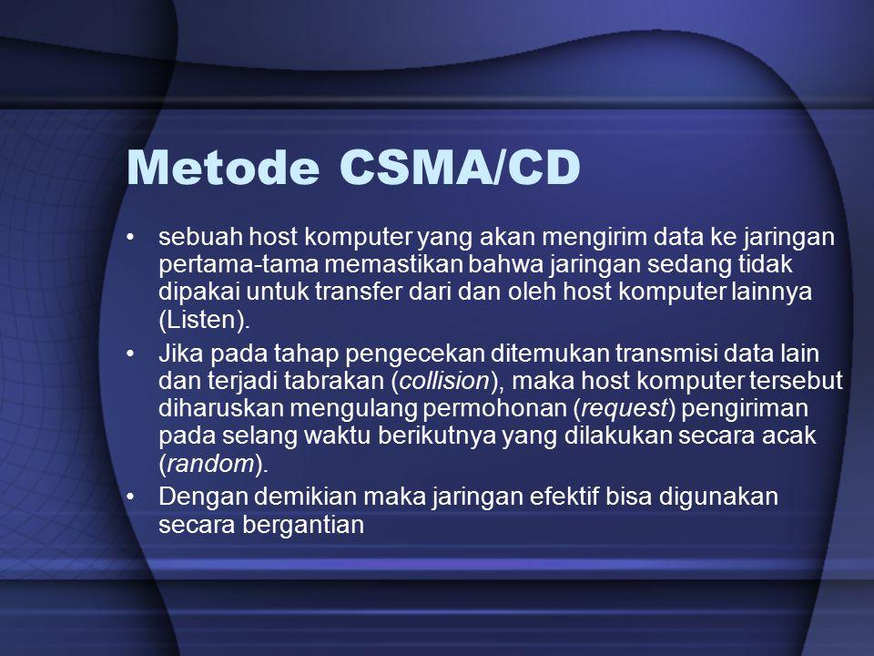 Metode CSMA/CD sebuah host komputer yang akan mengirim data ke jaringan pertama-tama memastikan bahwa jaringan sedang tidak dipakai untuk transfer dar