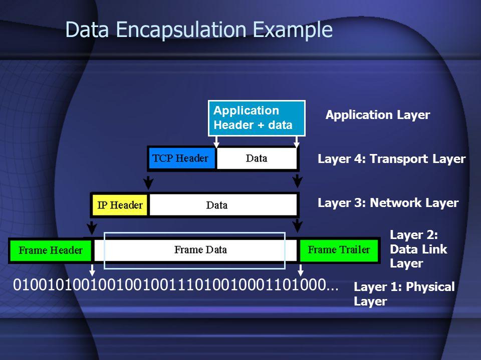Application Header + data Data Encapsulation Example 010010100100100100111010010001101000… Application Layer Layer 4: Transport Layer Layer 3: Network