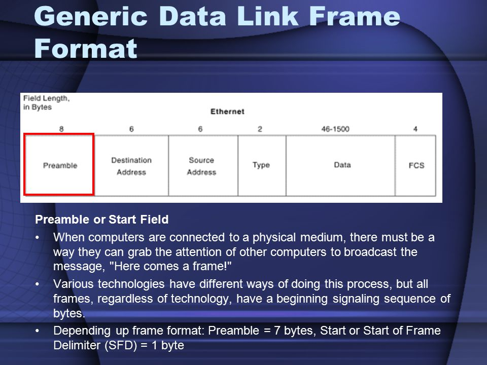 Generic Data Link Frame Format Preamble or Start Field When computers are connected to a physical medium, there must be a way they can grab the attent