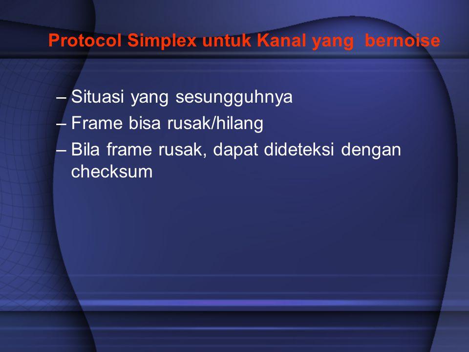 Protocol Simplex untuk Kanal yang bernoise –Situasi yang sesungguhnya –Frame bisa rusak/hilang –Bila frame rusak, dapat dideteksi dengan checksum
