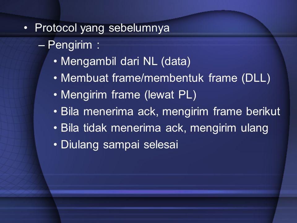 Protocol yang sebelumnya –Pengirim : Mengambil dari NL (data) Membuat frame/membentuk frame (DLL) Mengirim frame (lewat PL) Bila menerima ack, mengiri