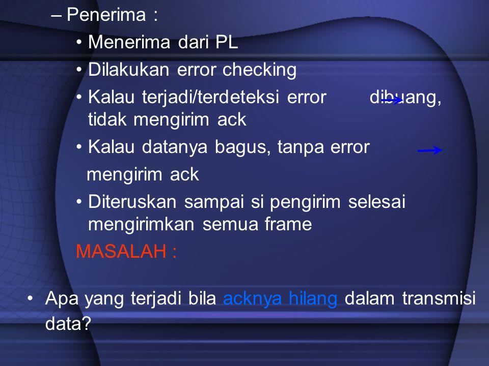 –Penerima : Menerima dari PL Dilakukan error checking Kalau terjadi/terdeteksi error dibuang, tidak mengirim ack Kalau datanya bagus, tanpa error meng
