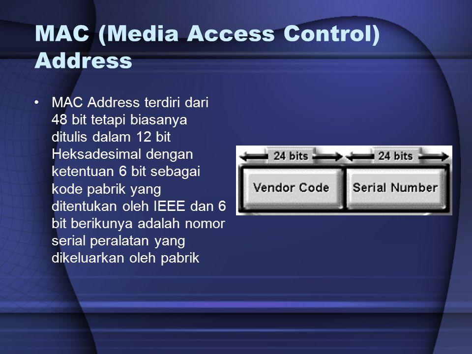MAC (Media Access Control) Address MAC Address terdiri dari 48 bit tetapi biasanya ditulis dalam 12 bit Heksadesimal dengan ketentuan 6 bit sebagai ko