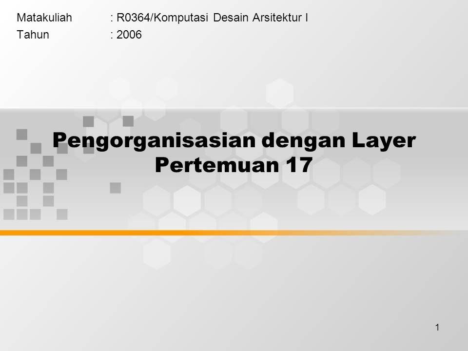 1 Pengorganisasian dengan Layer Pertemuan 17 Matakuliah: R0364/Komputasi Desain Arsitektur I Tahun: 2006