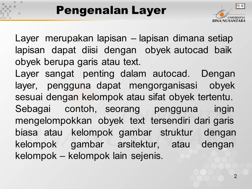 2 Pengenalan Layer Layer merupakan lapisan – lapisan dimana setiap lapisan dapat diisi dengan obyek autocad baik obyek berupa garis atau text. Layer s