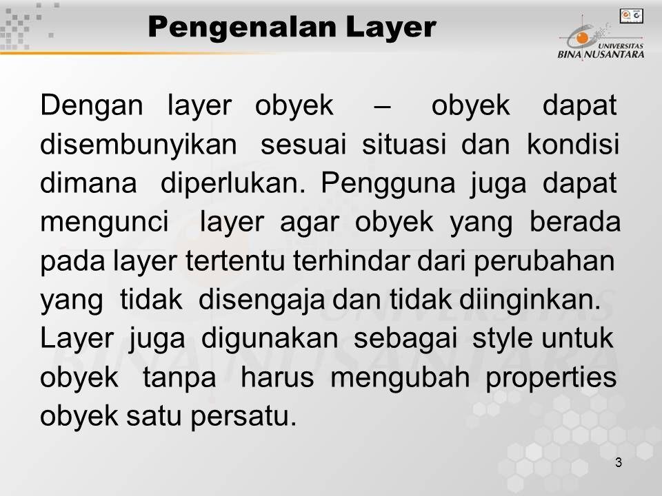 3 Pengenalan Layer Dengan layer obyek – obyek dapat disembunyikan sesuai situasi dan kondisi dimana diperlukan. Pengguna juga dapat mengunci layer aga
