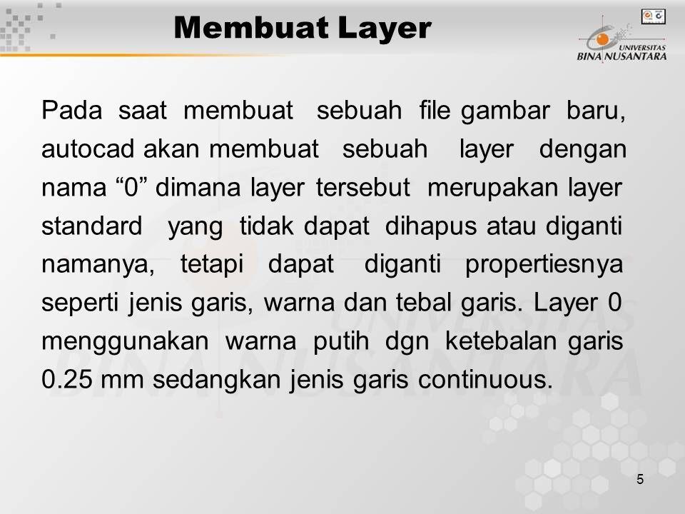 """5 Membuat Layer Pada saat membuat sebuah file gambar baru, autocad akan membuat sebuah layer dengan nama """"0"""" dimana layer tersebut merupakan layer sta"""