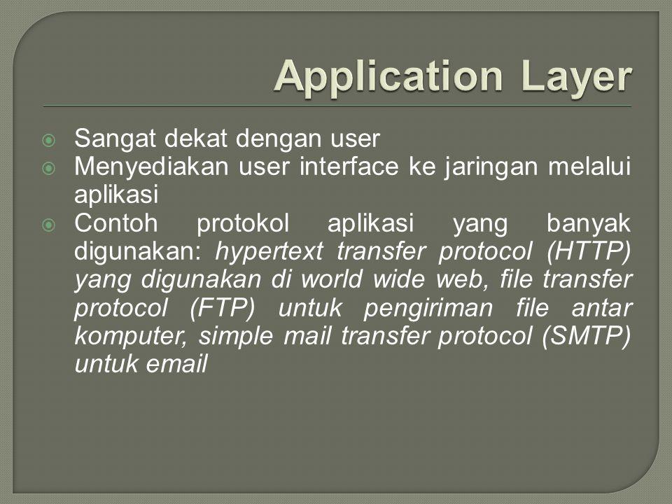  Sangat dekat dengan user  Menyediakan user interface ke jaringan melalui aplikasi  Contoh protokol aplikasi yang banyak digunakan: hypertext trans