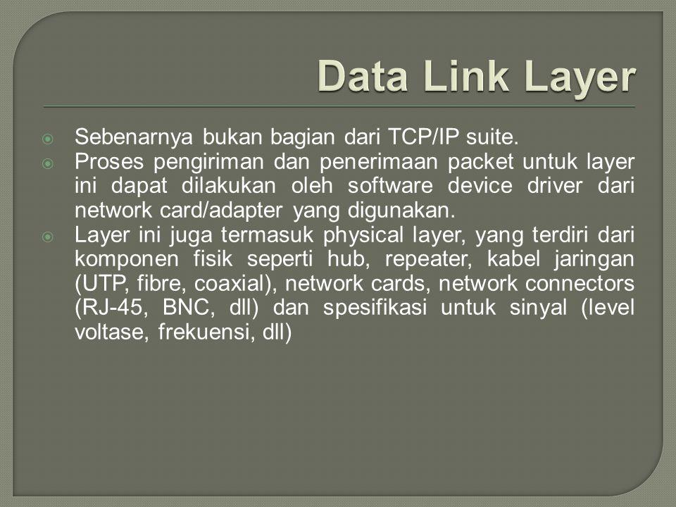  Sebenarnya bukan bagian dari TCP/IP suite.  Proses pengiriman dan penerimaan packet untuk layer ini dapat dilakukan oleh software device driver dar