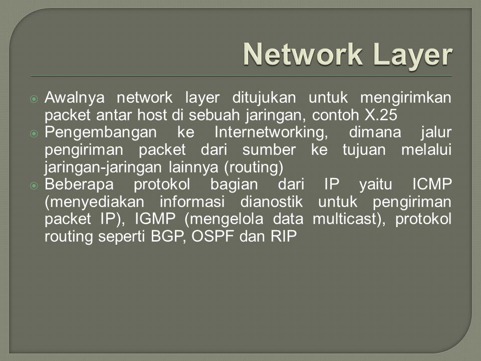  Awalnya network layer ditujukan untuk mengirimkan packet antar host di sebuah jaringan, contoh X.25  Pengembangan ke Internetworking, dimana jalur
