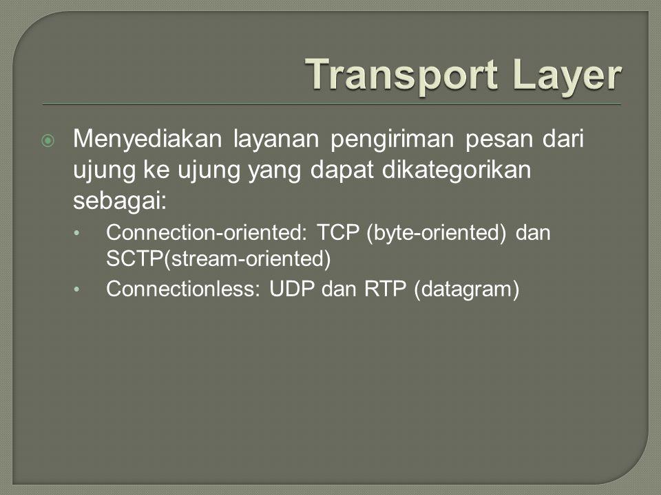  Menyediakan layanan pengiriman pesan dari ujung ke ujung yang dapat dikategorikan sebagai: Connection-oriented: TCP (byte-oriented) dan SCTP(stream-