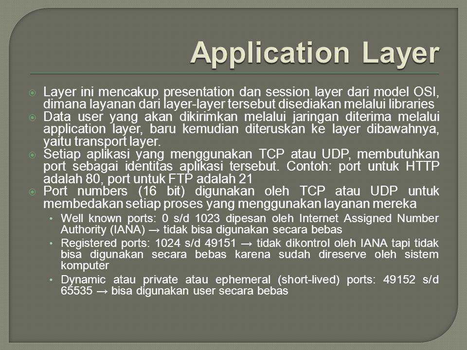  Layer ini mencakup presentation dan session layer dari model OSI, dimana layanan dari layer-layer tersebut disediakan melalui libraries  Data user