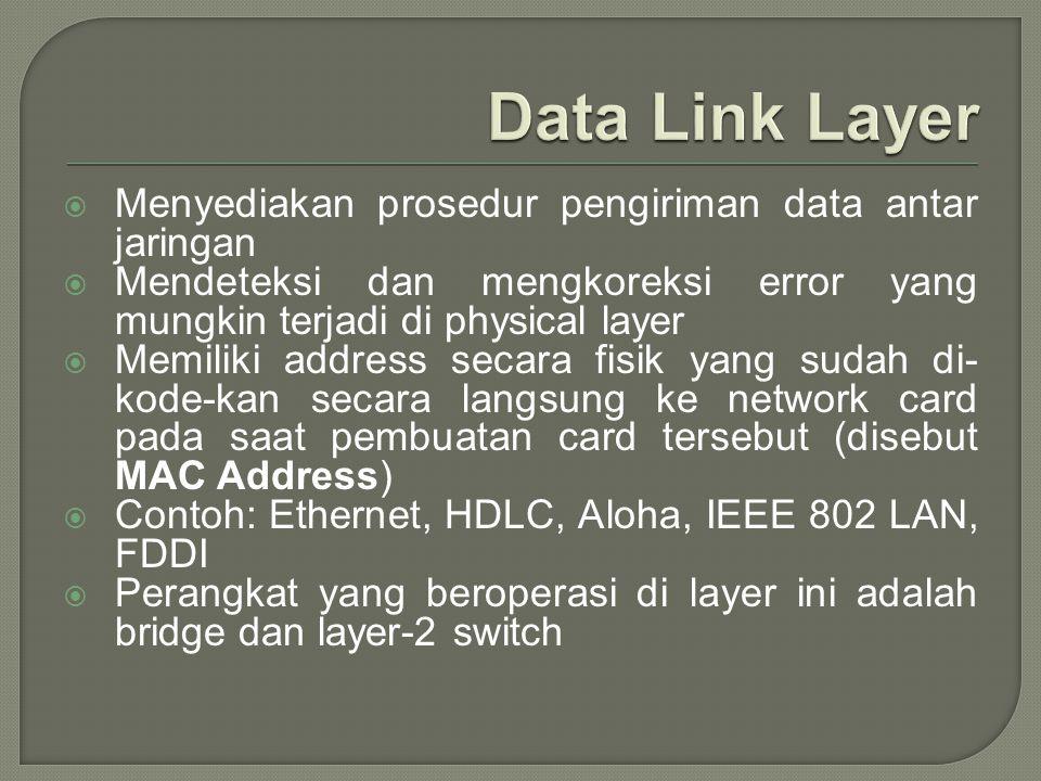  Menyediakan prosedur pengiriman data antar jaringan  Mendeteksi dan mengkoreksi error yang mungkin terjadi di physical layer  Memiliki address sec