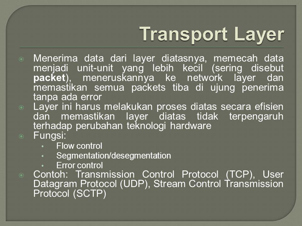  Menerima data dari layer diatasnya, memecah data menjadi unit-unit yang lebih kecil (sering disebut packet), meneruskannya ke network layer dan mema