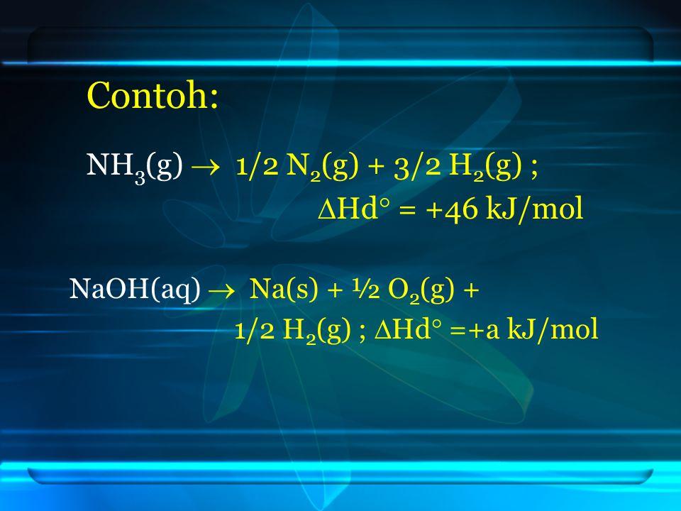 Contoh: NH 3 (g)  1/2 N 2 (g) + 3/2 H 2 (g) ;  Hd  = +46 kJ/mol NaOH(aq)  Na(s) + ½ O 2 (g) + 1/2 H 2 (g) ;  Hd  =+a kJ/mol