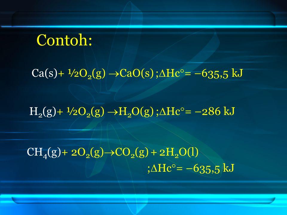Contoh: Ca(s)+ ½O 2 (g)  CaO(s) ;  Hc  = –635,5 kJ H 2 (g)+ ½O 2 (g)  H 2 O(g) ;  Hc  = –286 kJ CH 4 (g)+ 2O 2 (g)  CO 2 (g) + 2H 2 O(l) ;  Hc