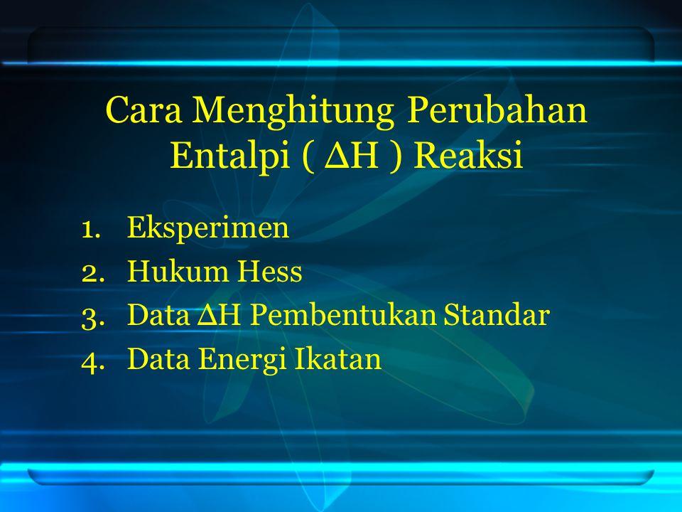 Cara Menghitung Perubahan Entalpi ( ΔH ) Reaksi 1.Eksperimen 2.Hukum Hess 3.Data ΔH Pembentukan Standar 4.Data Energi Ikatan
