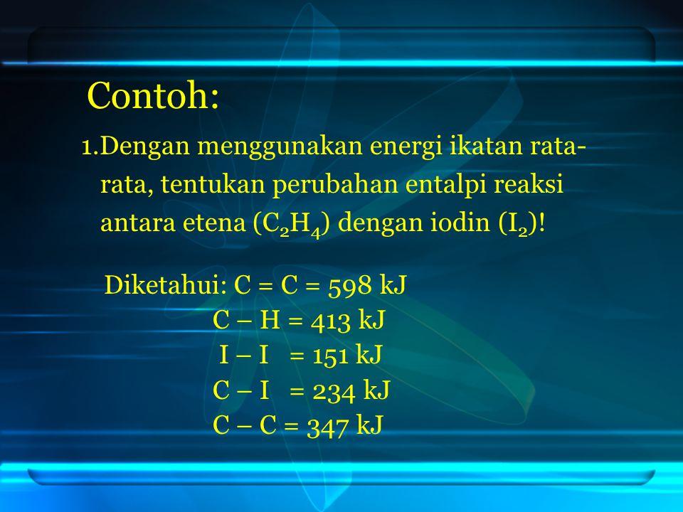 Contoh: 1.Dengan menggunakan energi ikatan rata- rata, tentukan perubahan entalpi reaksi antara etena (C 2 H 4 ) dengan iodin (I 2 )! Diketahui: C = C