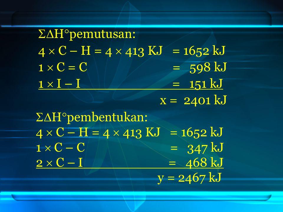  H  pemutusan: 4  C – H = 4  413 KJ = 1652 kJ 1  C = C = 598 kJ 1  I – I = 151 kJ x = 2401 kJ  H  pembentukan: 4  C – H = 4  413 KJ = 1652