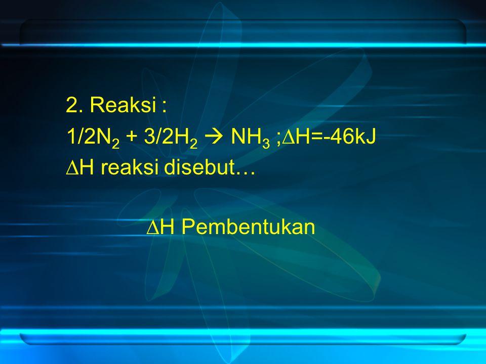 2. Reaksi : 1/2N 2 + 3/2H 2  NH 3 ;  H=-46kJ  H reaksi disebut…  H Pembentukan