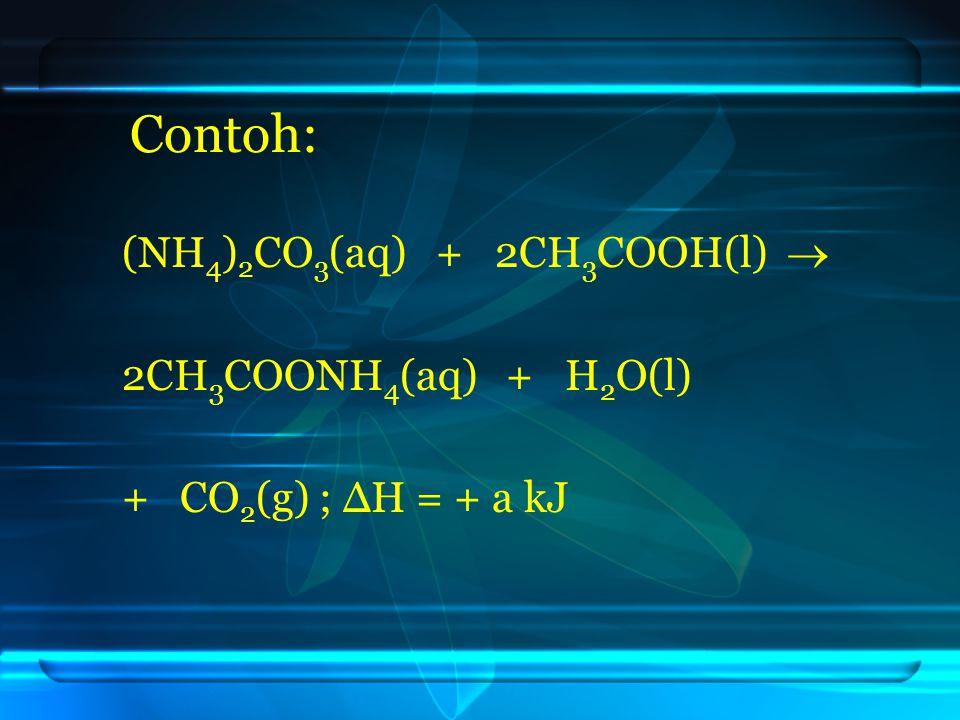 Contoh: (NH 4 ) 2 CO 3 (aq) + 2CH 3 COOH(l)  2CH 3 COONH 4 (aq) + H 2 O(l) + CO 2 (g) ; ΔH = + a kJ