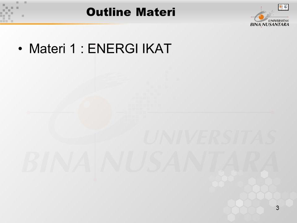 3 Outline Materi Materi 1 : ENERGI IKAT