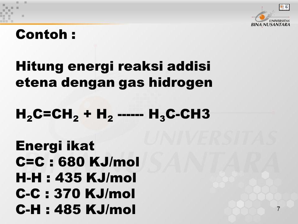 7 Contoh : Hitung energi reaksi addisi etena dengan gas hidrogen H 2 C=CH 2 + H 2 ------ H 3 C-CH3 Energi ikat C=C : 680 KJ/mol H-H : 435 KJ/mol C-C : 370 KJ/mol C-H : 485 KJ/mol