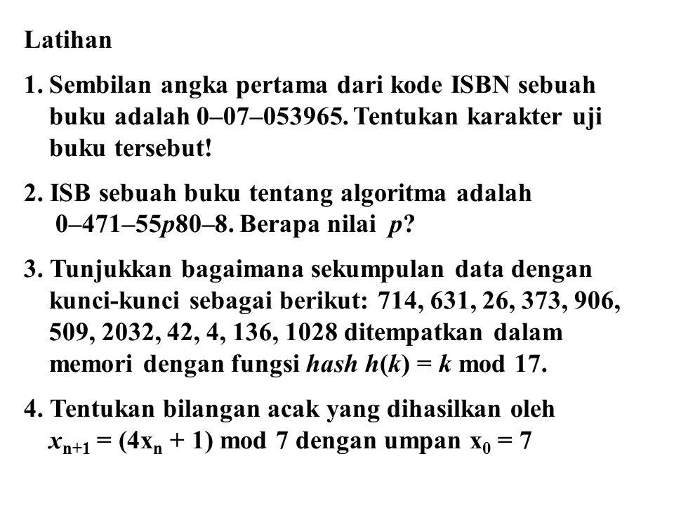 Latihan 1.Sembilan angka pertama dari kode ISBN sebuah buku adalah 0–07–053965. Tentukan karakter uji buku tersebut! 2. ISB sebuah buku tentang algori