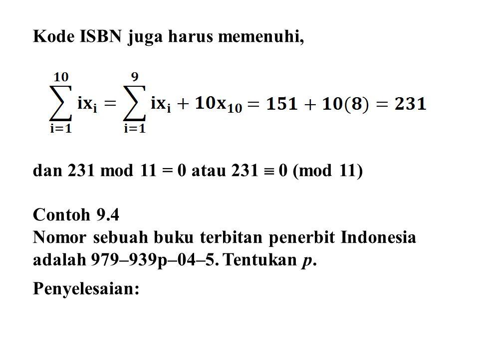 Diketahui karakter uji ISBN adalah 5.