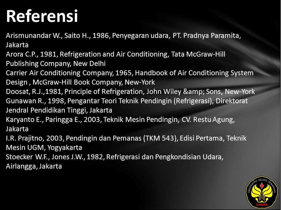 Referensi Arismunandar W., Saito H., 1986, Penyegaran udara, PT.