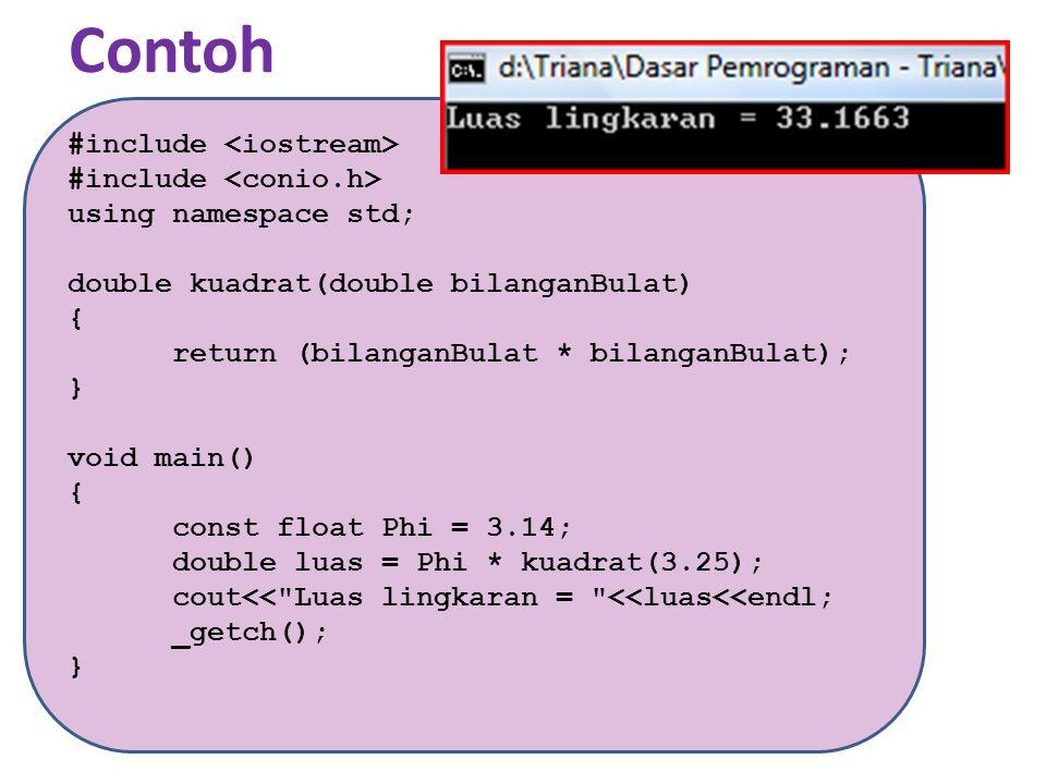 Contoh #include using namespace std; int terbesar (int a, int b) {if (a < b) return b; else return a; } void main() {int c, d; cout<< ---Input Dua Bilangan--- <<endl; cout >c; cout >d; cout<< Yang terbesar adalah ; int maksimum = terbesar(c,d); cout<<maksimum; _getch(); }