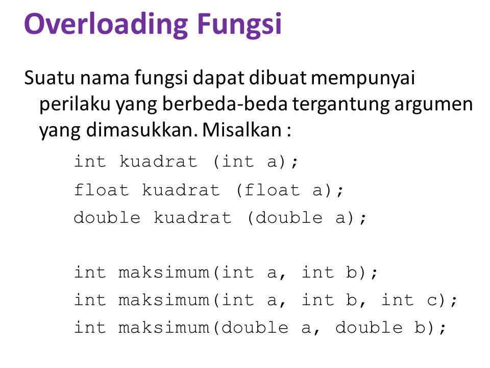 Contoh #include using namespace std; int terbesar (int a, int b) {if (a < b) return b; else return a; } int terbesar (int a, int b, int c) {int hasil; if (a < b) hasil=b; else hasil=a; if (hasil < c) hasil=c; return hasil; } void main() {int d=20, e=30, f=40; cout<< Antara d, e dan f, mana yang terbesar.
