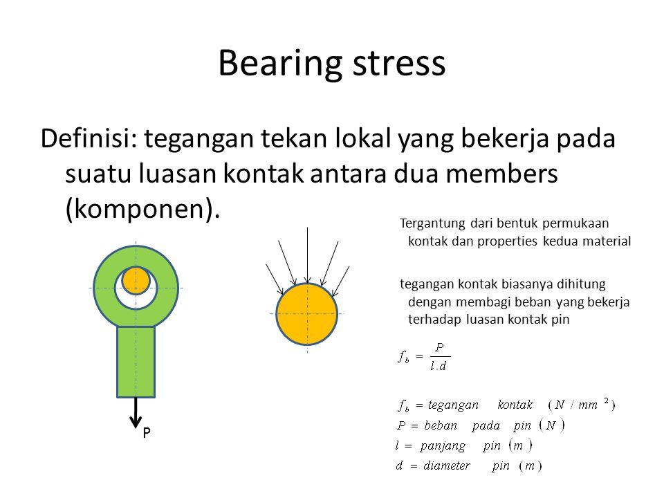 Bearing stress Definisi: tegangan tekan lokal yang bekerja pada suatu luasan kontak antara dua members (komponen).