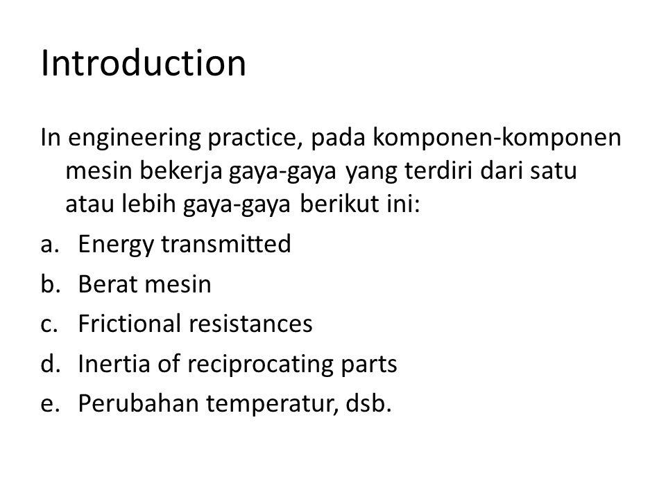 Introduction In engineering practice, pada komponen-komponen mesin bekerja gaya-gaya yang terdiri dari satu atau lebih gaya-gaya berikut ini: a.Energy transmitted b.Berat mesin c.Frictional resistances d.Inertia of reciprocating parts e.Perubahan temperatur, dsb.