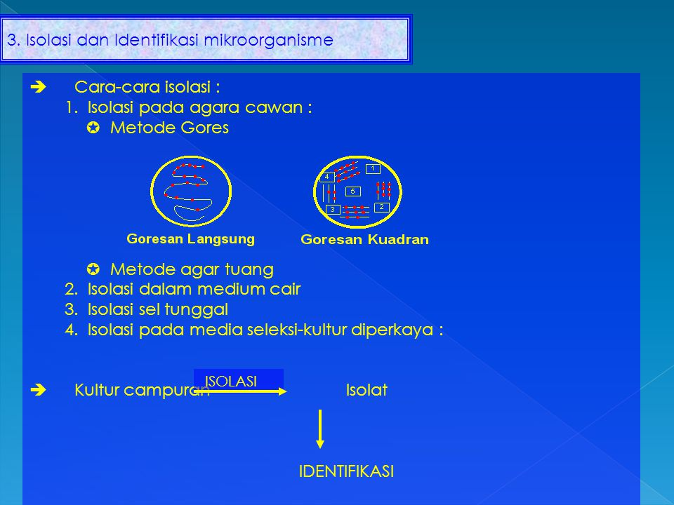 Lembaga Pengumpul Kultur Nama LembagaMetodeKultur 1.ATCC 2.CBS 3.CMI 4.IFO 5.FERM 6.NRRL Kering beku Nitrogen cair Nitriogen cair Kering vakum Agar Liofilisasi Mycoplasmatoles fasa L Alga dan Protozoa Fungi Bakteri Bakteri dan kapang Ket  ATCC : The American Type Culture Collection (USA) CBS : Centralbureau Voor Schimmel Culturen (Belanda) CMI : Cemmeonweath Mycological Institute (Inggris) IFO : Institute for Fermentation (Jepang) FERM : Fermentation Research Institute (Jepang) NRRL : Northem Regional Research Center (USA)