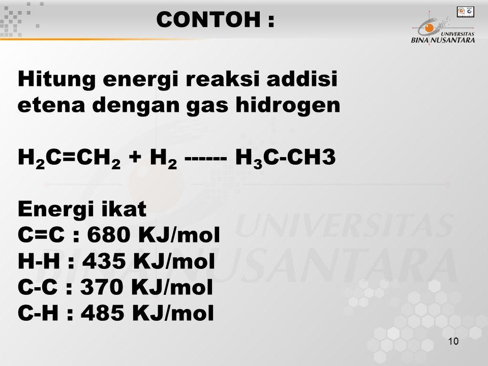 10 CONTOH : Hitung energi reaksi addisi etena dengan gas hidrogen H 2 C=CH 2 + H 2 ------ H 3 C-CH3 Energi ikat C=C : 680 KJ/mol H-H : 435 KJ/mol C-C