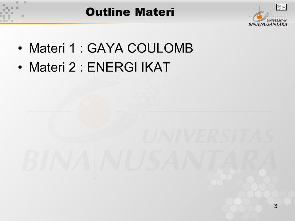 3 Outline Materi Materi 1 : GAYA COULOMB Materi 2 : ENERGI IKAT
