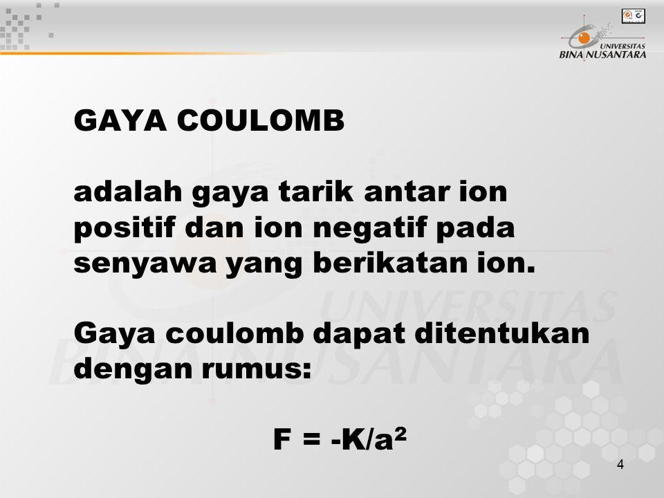 4 GAYA COULOMB adalah gaya tarik antar ion positif dan ion negatif pada senyawa yang berikatan ion. Gaya coulomb dapat ditentukan dengan rumus: F = -K