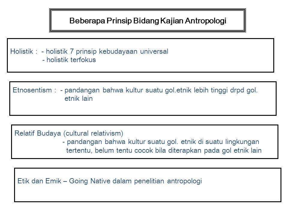 Beberapa Prinsip Bidang Kajian Antropologi Holistik : - holistik 7 prinsip kebudayaan universal - holistik terfokus Etnosentism : - pandangan bahwa ku