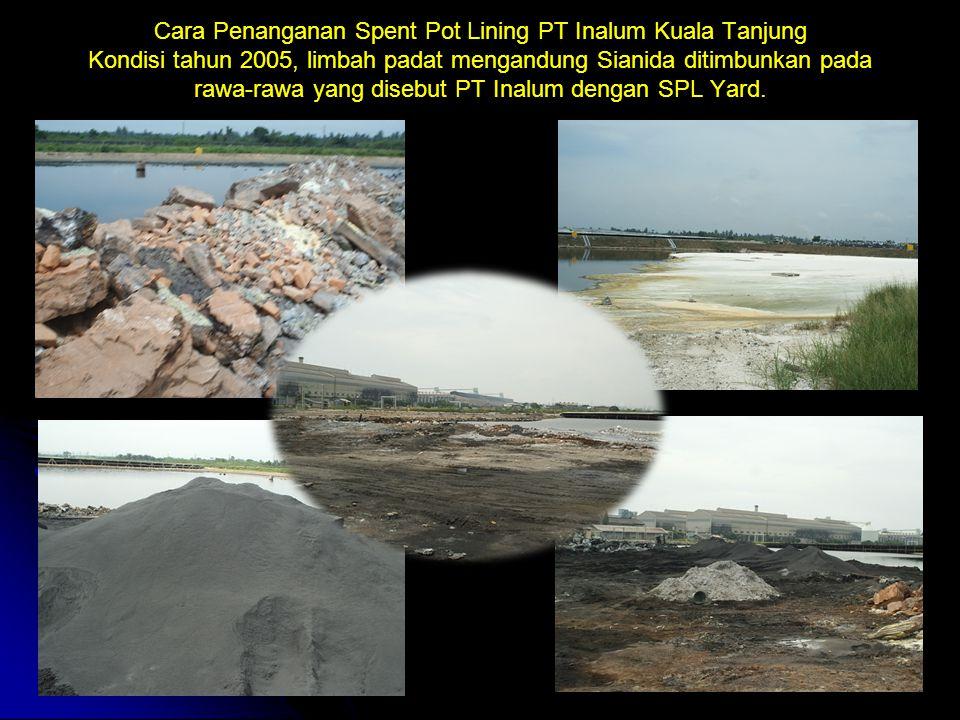 Cara Penanganan Spent Pot Lining PT Inalum Kuala Tanjung Kondisi tahun 2005, limbah padat mengandung Sianida ditimbunkan pada rawa-rawa yang disebut P