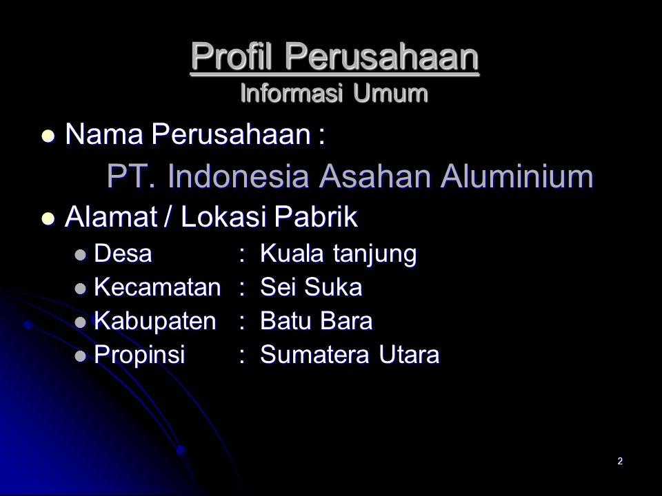 2 Profil Perusahaan Informasi Umum Nama Perusahaan : Nama Perusahaan : PT. Indonesia Asahan Aluminium Alamat / Lokasi Pabrik Alamat / Lokasi Pabrik De