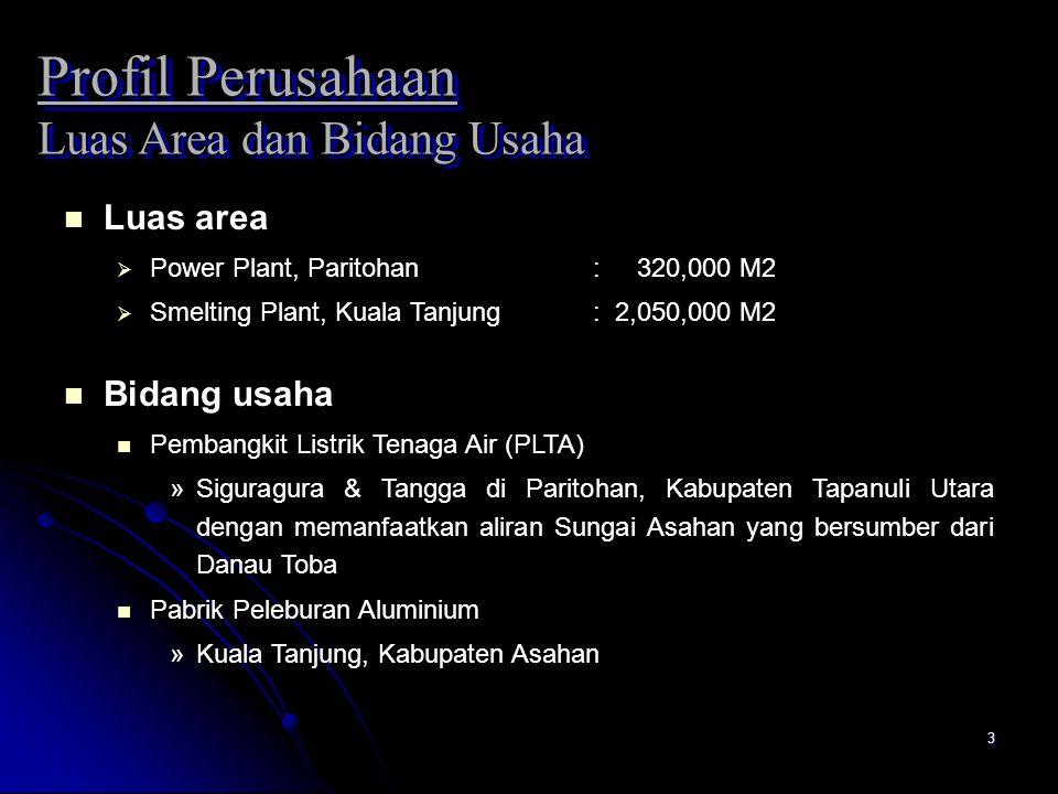 3 Profil Perusahaan Luas Area dan Bidang Usaha n Luas area  Power Plant, Paritohan: 320,000 M2  Smelting Plant, Kuala Tanjung: 2,050,000 M2 n Bidang